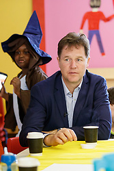 © Licensed to London News Pictures. 31/05/2017. London, UK. Former Liberal Democrat leader NICK CLEGG meets parents, teachers and pupils at the Oasis Playspace in Kennington, London, after unveiling a poster that attacks Prime Minister Theresa May's decision to scrap free school lunches and replace them breakfasts cost at just 7p each. Photo credit: Tolga Akmen/LNP