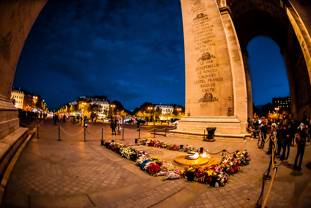 The Unknown Soldier and Eternal Flame, underneath the Arc de Triomphe, Paris, France.