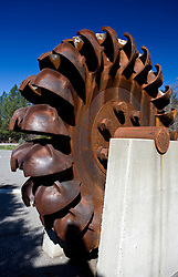 A pelton type water wheel used in mining production, Grass Valley, California, United States of America