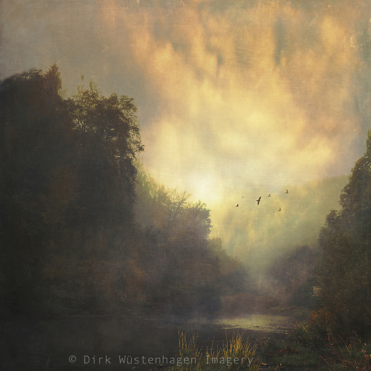 River Wupper near Müngsten on a misty fall morning - texturized photograph