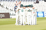 Leicestershire team huddle before the 2nd innings during the Specsavers County Champ Div 2 match between Middlesex County Cricket Club and Leicestershire County Cricket Club at Lord's Cricket Ground, St John's Wood, United Kingdom on 16 May 2019.