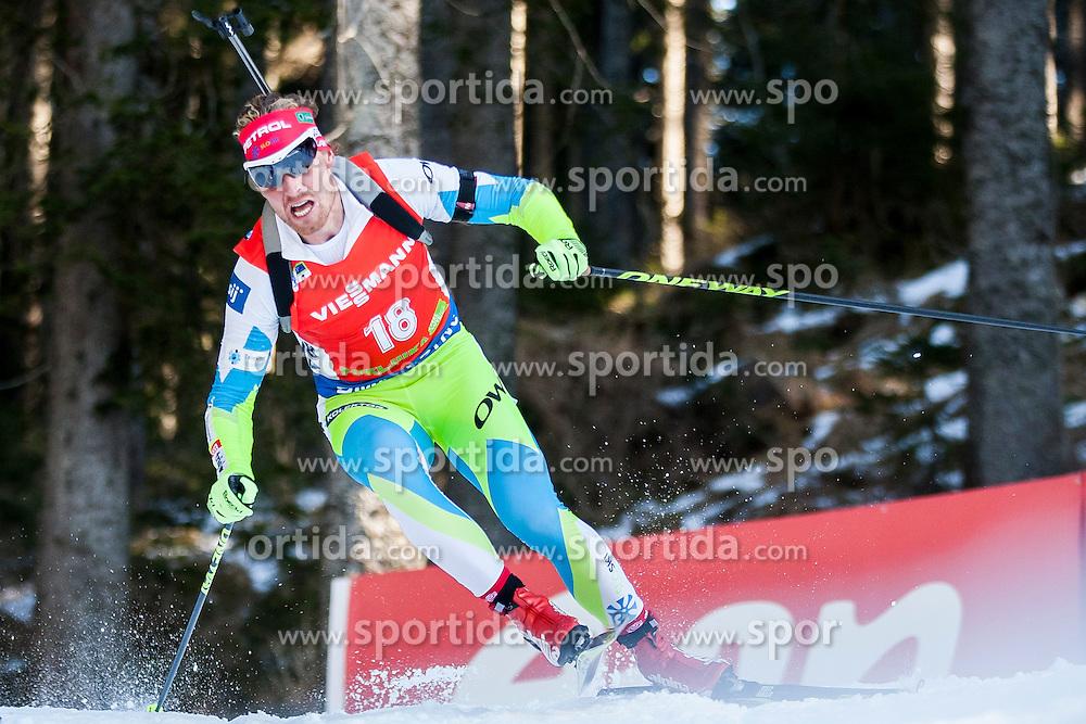 Klemen Bauer (SLO) competes during Men 12,5 km Pursuit at day 3 of IBU Biathlon World Cup 2015/16 Pokljuka, on December 19, 2015 in Rudno polje, Pokljuka, Slovenia. Photo by Urban Urbanc / Sportida