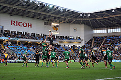 Bradley Davies of Wasps rises high to win lineout ball at his team's new home at the Ricoh Arena - Photo mandatory by-line: Patrick Khachfe/JMP - Mobile: 07966 386802 21/12/2014 - SPORT - RUGBY UNION - Coventry - Ricoh Arena - Wasps v London Irish - Aviva Premiership