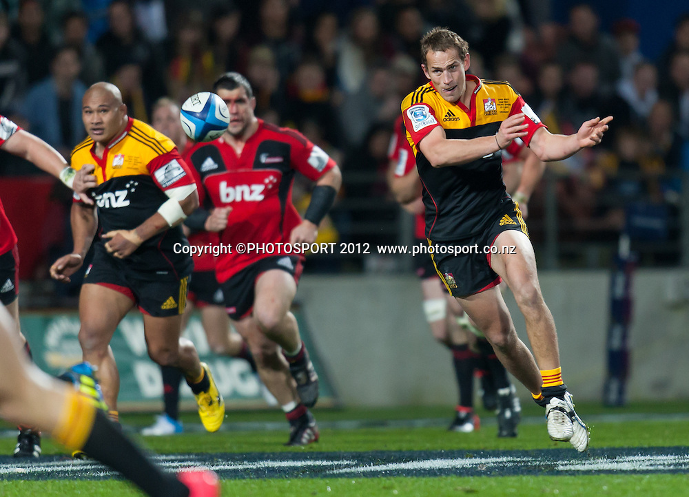Chiefs' Andrew Horrell passes during the Super Rugby Semi Final won by the Chiefs (20-17) against the Crusaders at Waikato Stadium, Hamilton, New Zealand, Friday 27 July 2012. Photo: Stephen Barker/Photosport.co.nz