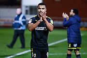 Wimbledon forward Kwesi Appiah (9) applauds the fans  during the The FA Cup 3rd round match between Fleetwood Town and AFC Wimbledon at the Highbury Stadium, Fleetwood, England on 5 January 2019.