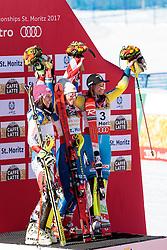 18.02.2017, St. Moritz, SUI, FIS Weltmeisterschaften Ski Alpin, St. Moritz 2017, Slalom, Damen, Flower Zeremonie, im Bild v.l. Wendy Holdener (SUI, Damen Slalom Silbermedaille), Mikaela Shiffrin (USA, Damen Slalom Weltmeisterin und Goldmedaille), Frida Hansdotter (SWE, Damen Slalom Bronzemedaille) // f.l. ladie's Slalom Silver medalist Wendy Holdener of Switzerland ladie's Slalom world Champion and Gold medalist Mikaela Shiffrin of the USA ladie's Slalom Bronze medalist Frida Hansdotter of Sweden during the Flowers ceremony for the ladie's Slalom of the FIS Ski World Championships 2017. St. Moritz, Switzerland on 2017/02/18. EXPA Pictures © 2017, PhotoCredit: EXPA/ Johann Groder