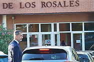 King Felipe VI of Spain arrive at the 'Santa Maria de los Rosales' school on the first day of schoo on September 11, 2019 in Madrid, Spain