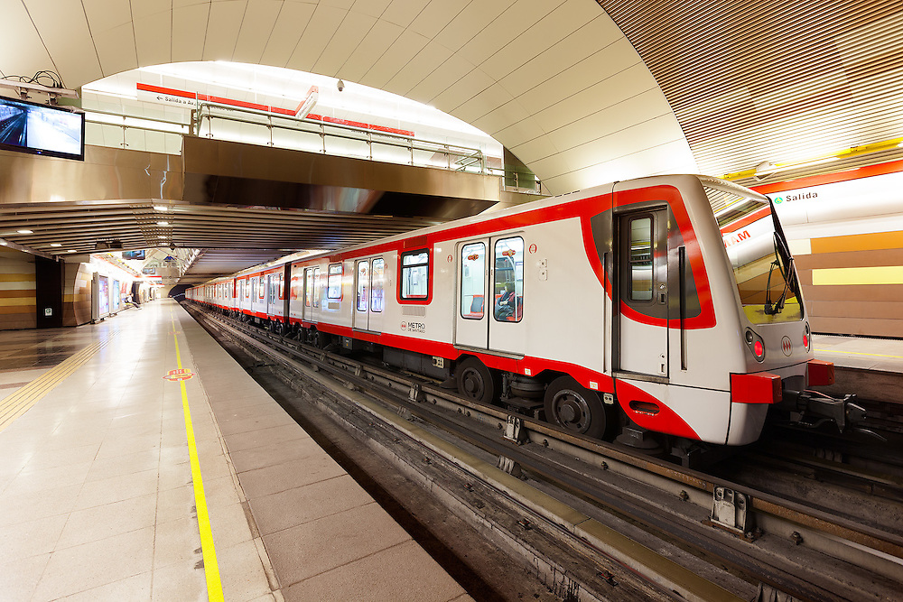 Station and train of the subway transportation system, Santiago de Chile, South America <br />