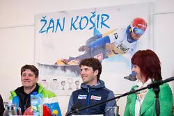 Zan Kosir at press conference of Zan Kosir receprion in Trzic, on March 16, 2018 in Trzic, Slovenia. Photo by Urban Urbanc / Sportida