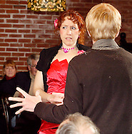 "Jene Rebbin Shaw as Gwen Elizabeth Verre and John Hambrick as Lance Anthony Lotte (right) during Mayhem & Mystery's production of ""Proposal Predicament"" at the Spaghetti Warehouse in downtown Dayton, Monday, January 9, 2012."