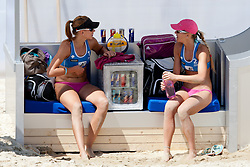 Tamara Borko and Sara Sakovic of Slovenia at A1 Beach Volleyball Grand Slam presented by ERGO tournament of Swatch FIVB World Tour 2012, on July 17, 2012 in Klagenfurt, Austria. (Photo by Matic Klansek Velej / Sportida)