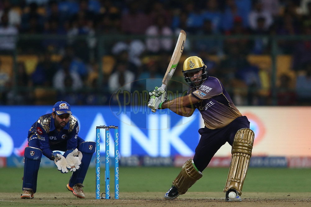 Ishank Jaggi of the Kolkata Knight Riders looks to attack a delivery during the 2nd qualifier match of the Vivo 2017 Indian Premier League between the Mumbai Indians and the Kolkata Knight Riders held at the M.Chinnaswamy Stadium in Bangalore, India on the 19th May 2017<br /> <br /> Photo by Shaun Roy - Sportzpics - IPL