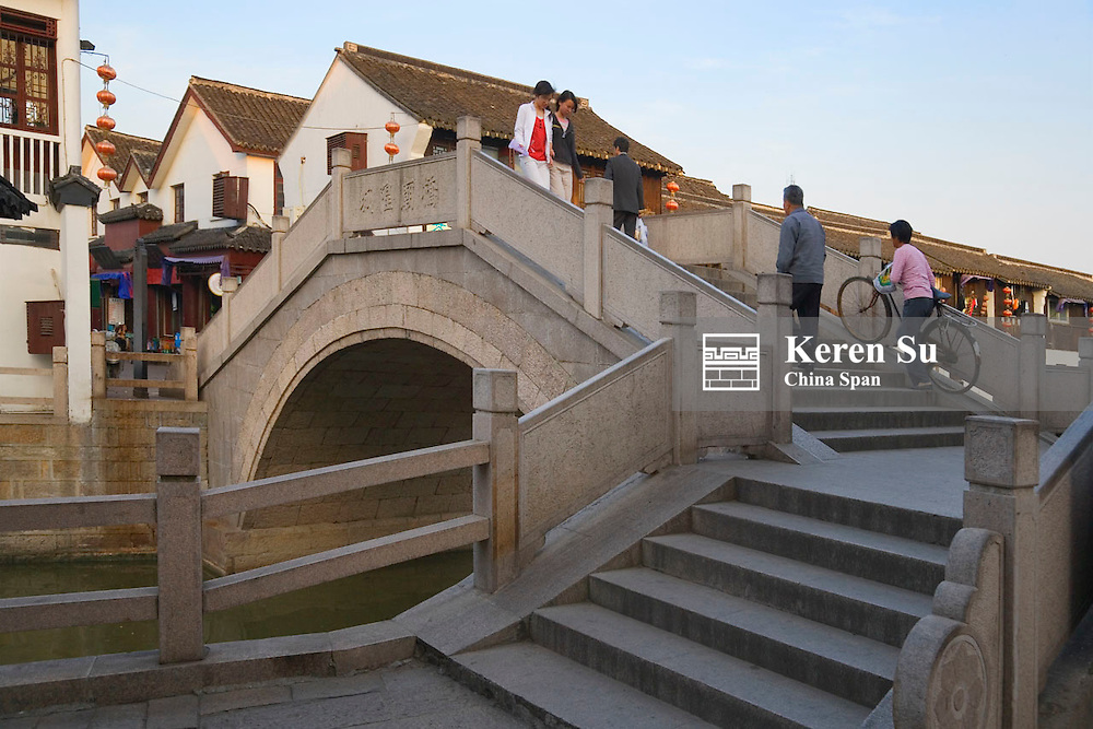Stone bridge on the Grand Canal in the water town, Zhujiajiao, near Shanghai, China