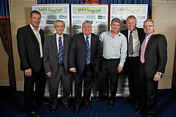 LIVERPOOL, ENGLAND - Friday, November 26, 2010: Derek Mountfield, Dave Hickson, Ronnie Goodlass, Ian Snodin, Joe Royal and Gary Bailey during a Health Through Sport Charity Dinner at the Devonshire House. (Photo by David Rawcliffe/Propaganda)