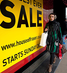 ©London News Pictures.24/12/2010. Sale signs in Oxford street, London, as High Street shops reduce their prices to attract customers for the Boxing Day sales. Photo credit should read Fuat Akyuz/London News Pictures.