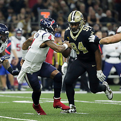 Sep 9, 2019; New Orleans, LA, USA; New Orleans Saints defensive end Cameron Jordan (94) goes in for a sack on Houston Texans quarterback Deshaun Watson (4) during the first quarter at the Mercedes-Benz Superdome. Mandatory Credit: Derick E. Hingle-USA TODAY Sports