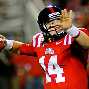 Mississippi quarterback Bo Wallace (14) releases a pass during the first half of an NCAA college football game against Texas in Oxford, Miss., Saturday, Sept. 15, 2012. (Photo/Thomas Graning)