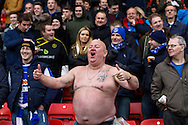 Picture by David Horn/Focus Images Ltd +44 7545 970036<br /> 14/12/2013<br /> A Sheffield wednesday fan braves the cold during the Sky Bet Championship match at Vicarage Road, Watford.