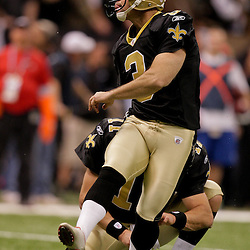 2009 November 30: New Orleans Saints kicker John Carney (3) watches after kicking a field goal during a 38-17 win by the New Orleans Saints over the New England Patriots at the Louisiana Superdome in New Orleans, Louisiana.