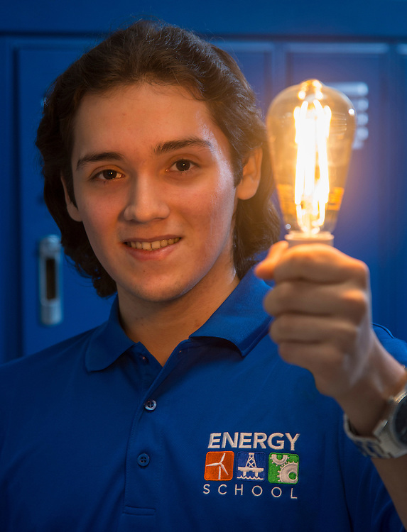 Williams Santos poses for a photograph at the Energy Institute High School, January 23, 2017.