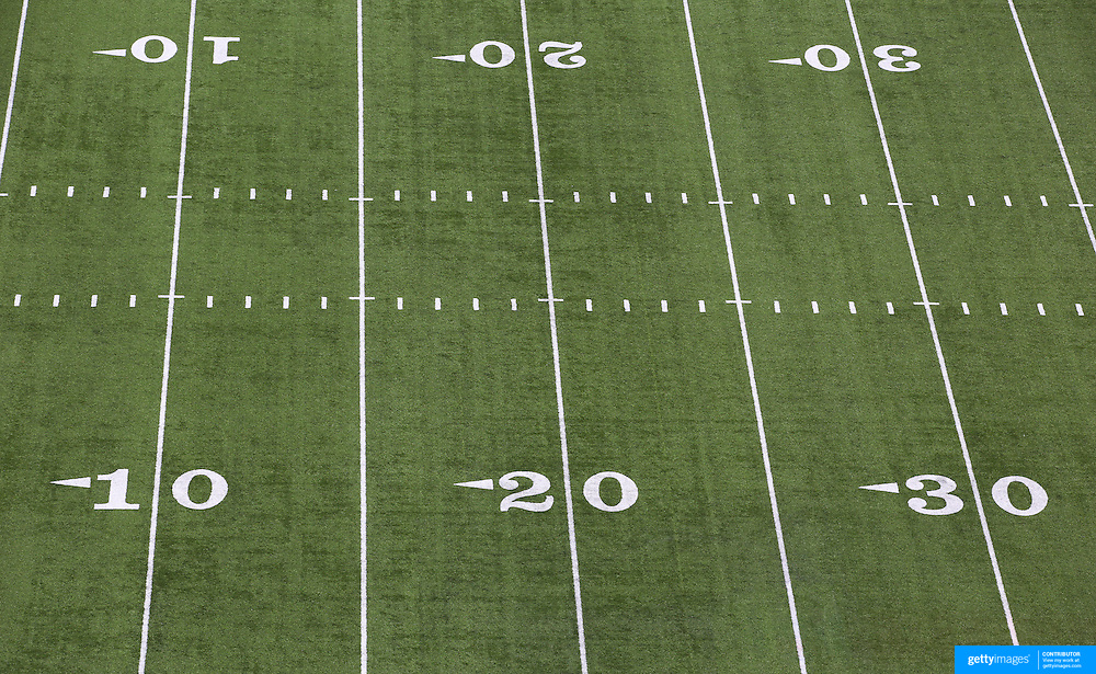 American Football field markings on the surface of MetLife Stadium during the New York Jets V New England Patriots NFL regular season game at MetLife Stadium, East Rutherford, NJ, USA. 20th October 2013. Photo Tim Clayton