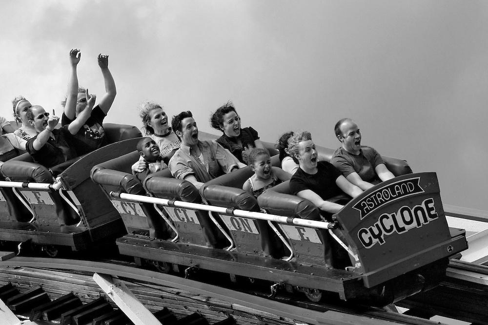 Top of the World! Coney Island, Brooklyn's Cyclone roller coaster.