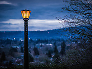Historic light fixture above Richmond neighborhood of Southeast Portland, Mount Tabor Park, Portland, Oregon, USA.
