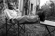 Writer Umberto Eco at his holiday home in Montecerignone, August 1989.
