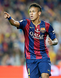 30.05.2015, Camp Nou, Barcelona, ESP, Copa del Rey, Athletic Club Bilbao vs FC Barcelona, Finale, im Bild FC Barcelona's Neymar Santos Jr celebrates goal // during the final match of spanish king's cup between Athletic Club Bilbao and Barcelona FC at Camp Nou in Barcelona, Spain on 2015/05/30. EXPA Pictures &copy; 2015, PhotoCredit: EXPA/ Alterphotos/ Acero<br /> <br /> *****ATTENTION - OUT of ESP, SUI*****