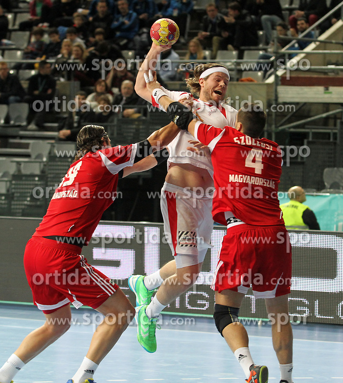 12.01.2013 Barcelona, Spain. IHF men's world championship, Quarter-Final. Picture show Mikkel Hansen    in action during game between Denmark vs Hungary at Palau ST Jordi (Photo by Sportida Photo Agency)