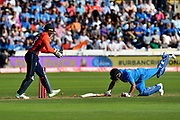 Wicket - Suresh Raina of India is stumped by Jos Buttler of England off the bowling of Adil Rashid of England during the International T20 match between England and India at the SWALEC Stadium, Cardiff, United Kingdom on 6 July 2018. Picture by Graham Hunt.