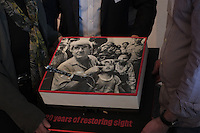 The famous Fred Hollows Portrait from Hanoi 1992 on the Fred Hollows Foundation 20 years Anniversary cake.