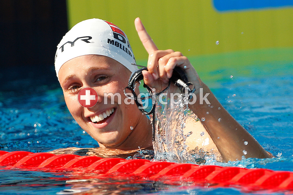 Rikke Moeller PEDERSEN of Denmark reacts after competing in the women's 200m Breaststroke Heats at the European Swimming Championship at the Hajos Alfred Swimming complex in Budapest, Hungary, Thursday, Aug. 12, 2010. (Photo by Patrick B. Kraemer / MAGICPBK)