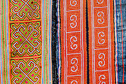 Textile detail of Black Miao (Hmong) minority traditional women's costume, Sapa, Vietnam.