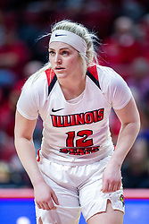 NORMAL, IL - January 05: Cameron Call during a college women's basketball game between the ISU Redbirds and the Purple Aces of University of Evansville January 05 2020 at Redbird Arena in Normal, IL. (Photo by Alan Look)