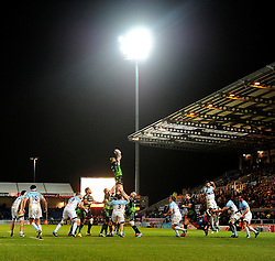 Exeter Chiefs' Lock, Damian Welch wins the line out  - Photo mandatory by-line: Joe Meredith/JMP - Mobile: 07966 386802 - 24/01/2015 - SPORT - Rugby - Exeter - Sandy Park Stadium - Exeter Chiefs v Bayonne - Challenge Cup Round 6