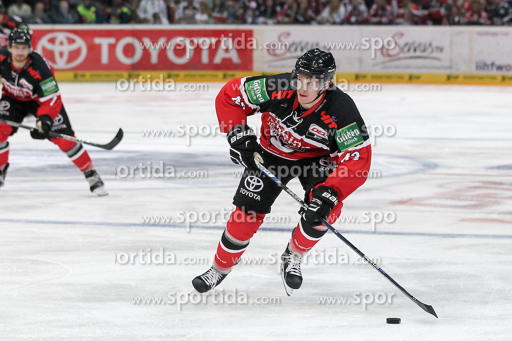 11.09.2015, Lanxess Arena, Koeln, GER, DEL, Koelner Haie vs EHC Red Bull Muenchen, 1. Runde, im Bild Alexander Weiss (Koelner Haie) // during the German DEL Icehockey League 1st round match between Koelner Haie and EHC Red Bull Munich at the Lanxess Arena in Koeln, Germany on 2015/09/11. EXPA Pictures &copy; 2015, PhotoCredit: EXPA/ Eibner-Pressefoto/ Fusswinkel<br /> <br /> *****ATTENTION - OUT of GER*****