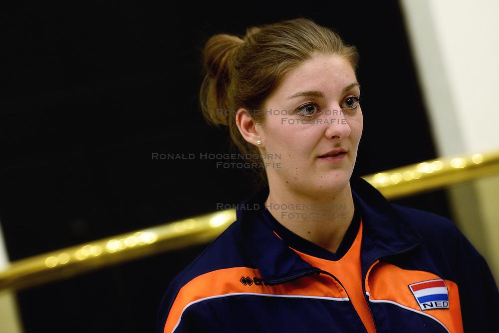 05-01-2016 TUR: European Olympic Qualification Tournament Persmoment, Ankara <br /> In het spelershotel was er een moment voor de pers / Anne Buijs #11 ge&iuml;nterviewd door telegraaf media
