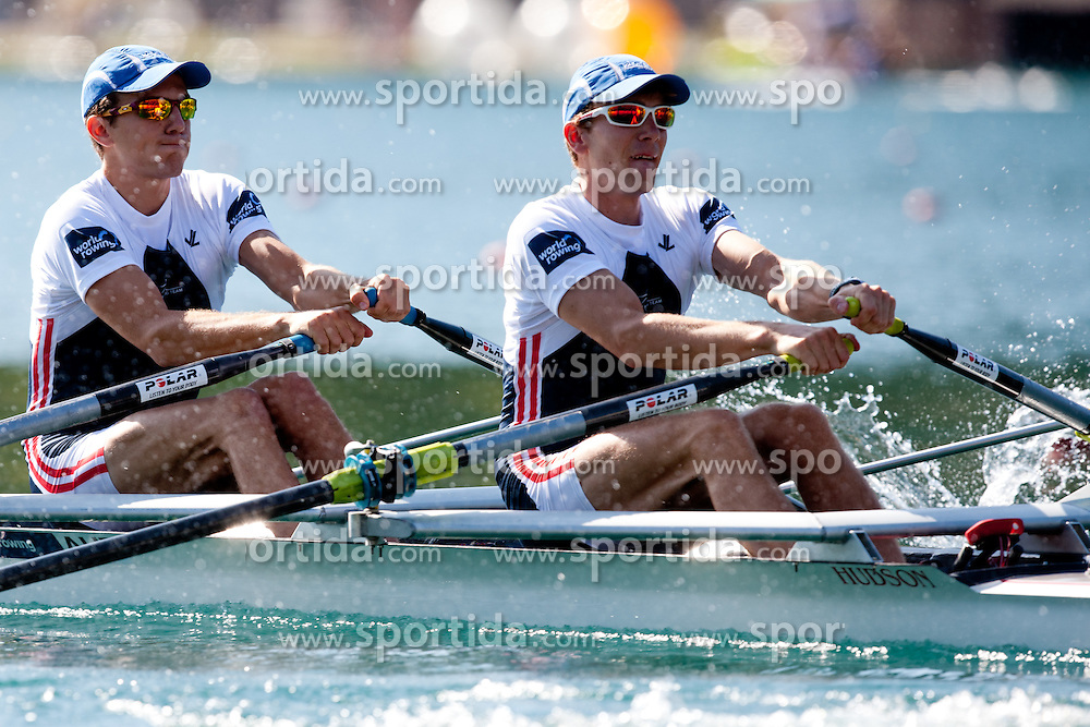 Joschka Hellmeier and Florian Berg of Austria during Lightweight Men's Double Sculls at Rowing World Championships Bled 2011 on August 28, 2011, in Bled, Slovenia. (Photo by Matic Klansek Velej / Sportida)