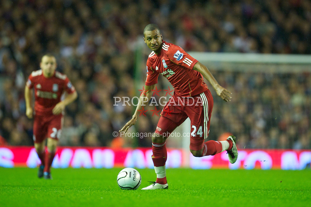 LIVERPOOL, ENGLAND - Wednesday, September 22, 2010: Liverpool's David Ngog in action against Northampton Town during the Football League Cup 3rd Round match at Anfield. (Photo by David Rawcliffe/Propaganda)