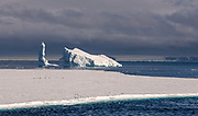 Drift-ice and icebergs with penguins in the Antarctic Sound on the northern tip of the Antarctic Peninsula