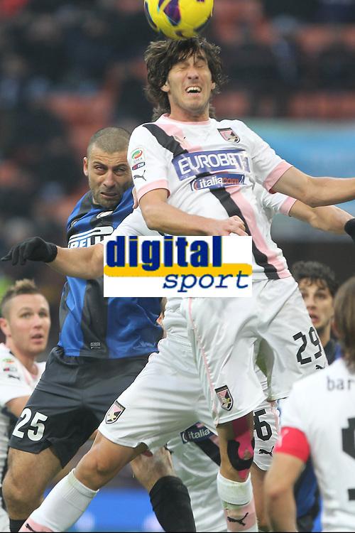 "Santiago Garcia Palermo Walter Samuel Inter.Milano 02/12/2012 Stadio ""San Siro"".Football Calcio Serie A 2012/13.Inter v Palermo.Foto Insidefoto Paolo Nucci."