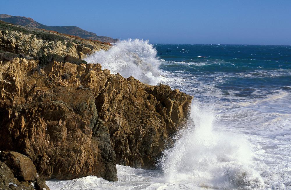 Surf at Westcoast near Pointe de la Revellata, Mediterranean Sea, Corsica, France, Europe