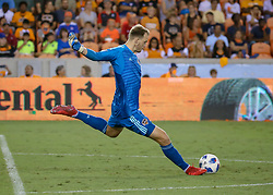 August 4, 2018 - Houston, TX, U.S. - HOUSTON, TX - AUGUST 04:  Houston Dynamo goalkeeper Joe Willis (23) sends the ball into play during the soccer match between Sporting Kansas City and Houston Dynamo on August 4, 2018 at BBVA Compass Stadium in Houston, Texas.  (Photo by Leslie Plaza Johnson/Icon Sportswire) (Credit Image: © Leslie Plaza Johnson/Icon SMI via ZUMA Press)