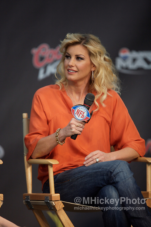 Musician Faith Hill participates in the NFL Kickoff concert press conference in Indianapolis, Indiana. Photo by Michael Hickey