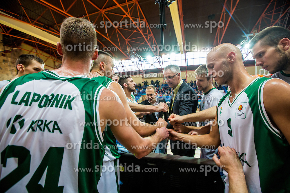 Plyers and head coach Ivan Velic of KK Krka Novo mesto during basketball match between KK Krka Novo mesto and KK Tajfun Sentjur at Superpokal 2015, on September 26, 2015 in SKofja Loka, Poden Sports hall, Slovenia. Photo by Grega Valancic / Sportida.com