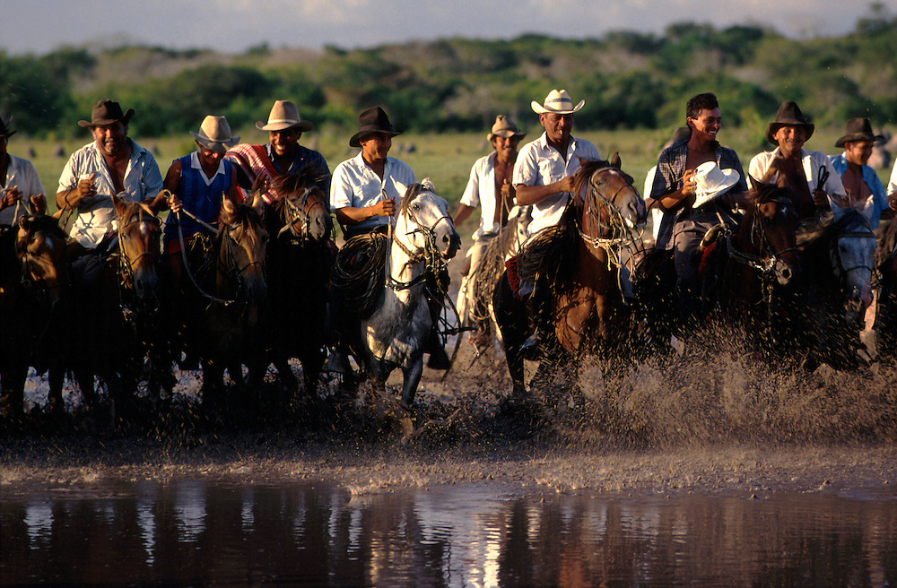 COLOMBIA:Llanos of Casanare.Cattle herders spend weeks on end living in the saddle, slinging their hammocks, and feeding solely off the cows they herd (the naughtiest calf is usually slaughtered for supper. Every last part of the animal is used for something: the skin used for lassoos for example.