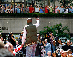 September 19, 2007; New York, NY, USA; World Welterweight Champion Floyd Mayweather Jr waves to the gathered crowd at the press conference announcing his bout against World Junior Welterweight Champion Ricky Hatton.  The fight will take place on December 8, 2007 at the MGM Grand Garden Arena in Las Vegas, Nevada.