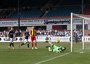 12th May 2018, Dens Park, Dundee, Scotland; Scottish Premier League football, Dundee versus Partick Thistle; Partick Thistle goalkeeper Tomas Cerny makes a vital save from Randy Wolters of Dundee