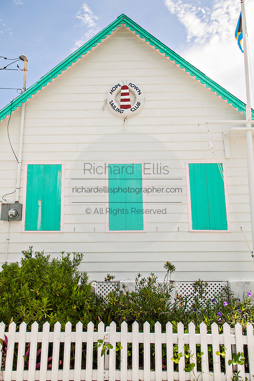 Hope Town Sailing Club in the tiny village of Hope Town, Elbow Cay Abacos, Bahamas.